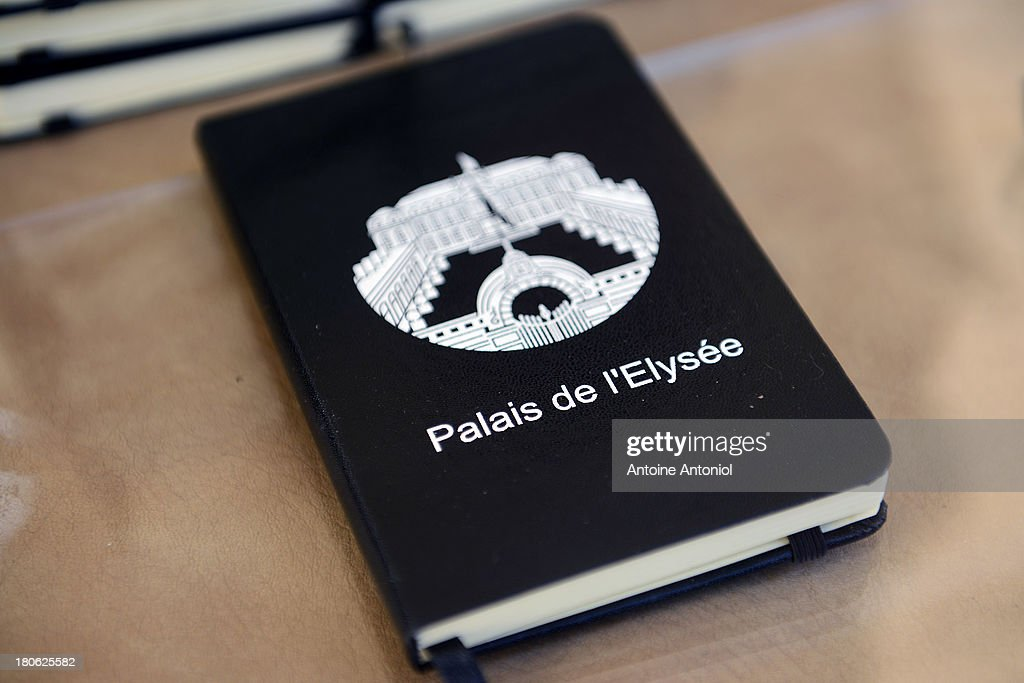 An Elysee Presidential Palace note book is seen during the 30th edition of France's European heritage days on September 15, 2013 in Paris, France. Monuments and state buildings are opened for free for two days to the public.