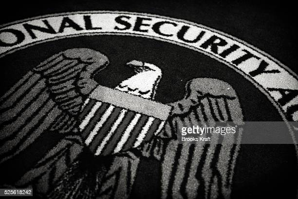 An emblem on a rug inside the National Security Agency headquarters in Fort Meade Maryland outside Washington DC The NSA is the central producer and...