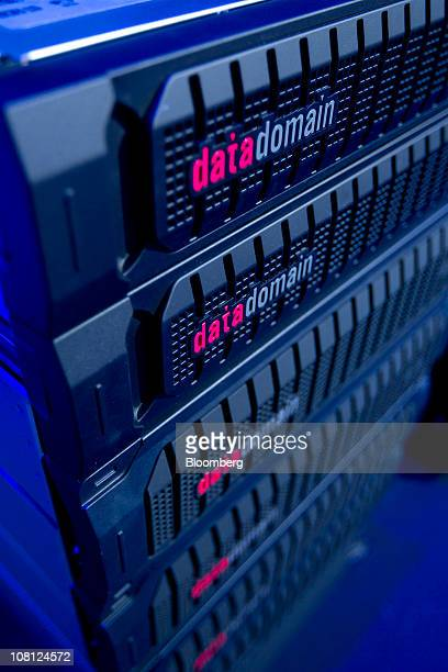 An EMC Corp Datadomain series storage unit is displayed during a media event in New York US on Tuesday Jan 18 2011 EMC today introduced multiple new...