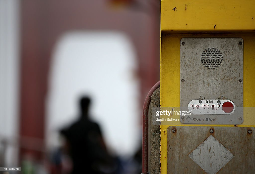 An emergency call box is posted on the span of the Golden Gate Bridge on June 27, 2014 in San Francisco, California. The Golden Gate Bridge district's board of directors voted unanimously to approve a $76 million funding package to build a net suicide barrier on the iconic span. Over 1,500 people committed suicide by jumping from the iconic bridge since it opened in 1937. 46 people jumped to their death in 2013.
