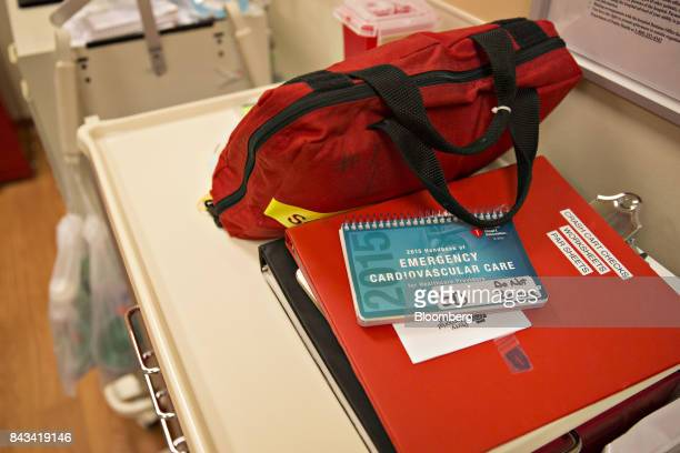 An emergency cardiovascular care notebook sits on a table in a trauma exam room at Perry Memorial Hospital in Princeton Illinois US on Friday Sept 1...