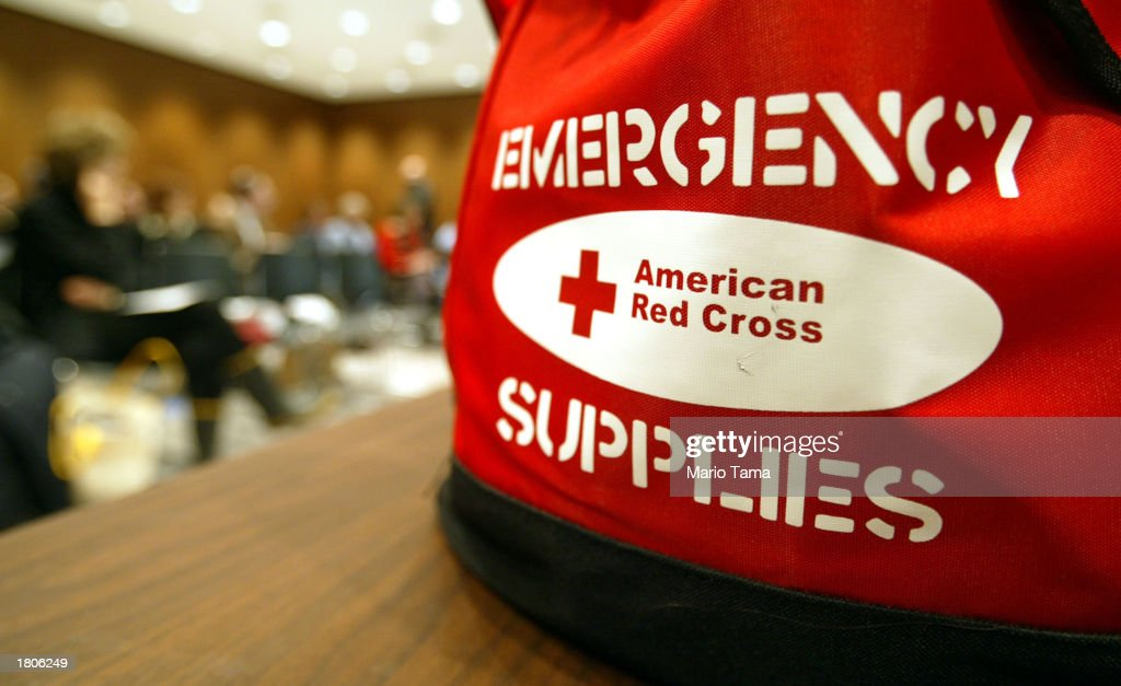 An emergency supplies bag is shown at the American Red Cross course known as 'Preparing for the Unexpected' February 20 2003 in New York City The...