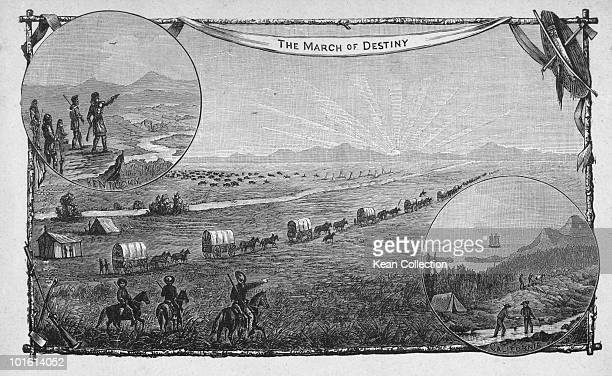 An emigrant wagon train crossing the plains on a journey from Kentucky to California during the westward expansion of the United States circa 1850...