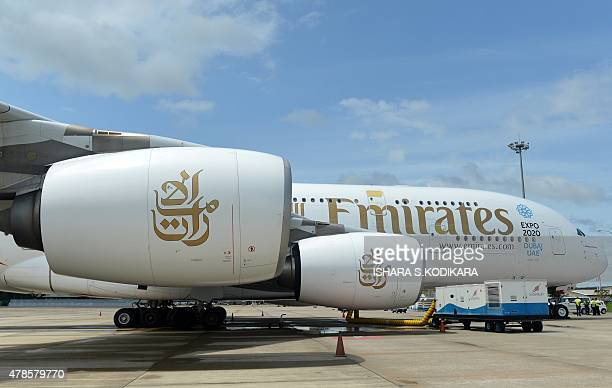 An Emirates Airbus A380 aircraft sits on the tarmac at the Bandaranaike International Airport in Katunayake on June 26 after making an emergency...