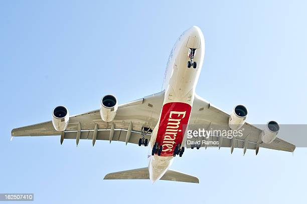 An Emirates Airbus A380 lands at the Barcelona El Prat Airport on February 24 2013 in Barcelona Spain The Emirates Airbous A380 landed in Barcelona...