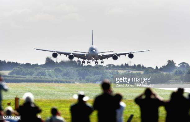 An Emirates Airbus A380 the world's largest airliner touches down at Birmingham International Airport to mark the extension of the airport's...