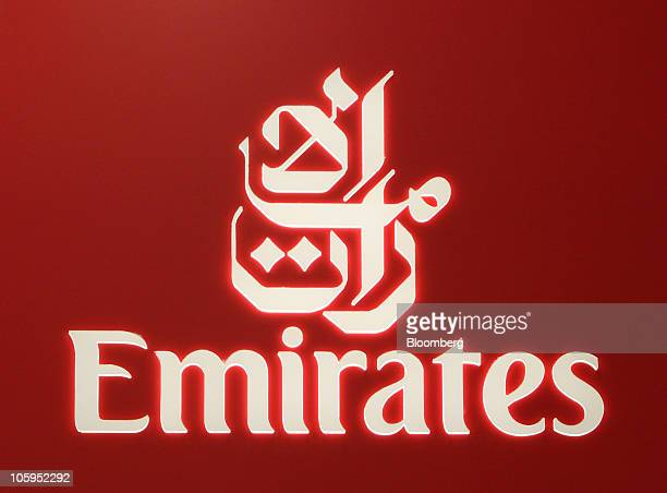An Emirates Airline company logo is displayed at Manchester airport in Manchester UK on Thursday Oct 21 2010 The A380 designed to carry 500 people...