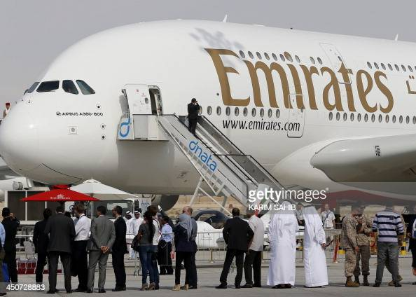 An Emirates Airline's Airbus A380800 is displayed at the Dubai Airshow on November 19 2013 US aerospace giant Boeing announced up to $1015 billion in...