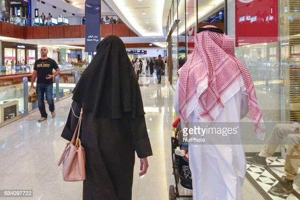 An Emirati couple inside a Dubai mall in Dubai downtown On Monday 6 February in Dubai UAE
