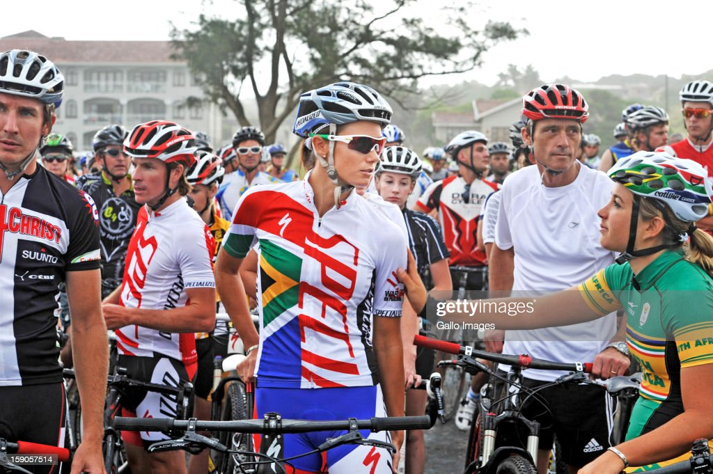 An emotional Cherise Stander, wife to the late Burry, starts the cyle to honour her husband on January 6, 2013 in Balito, South Africa. Burry was hit by a taxi while out on a training ride, he suffered severe head trauma and a broken neck, he was killed on impact. The taxi driver has been charged with culpable homicide.