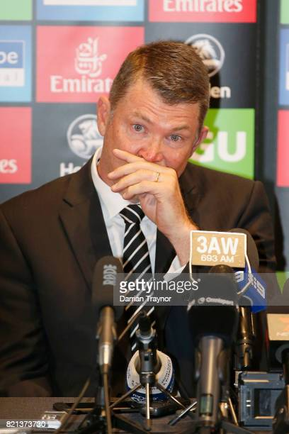 An emotional Collingwood Magpies AFL CEO Gary Pert speaks to the media during a press conference at the Holden Centre on July 24 2017 in Melbourne...