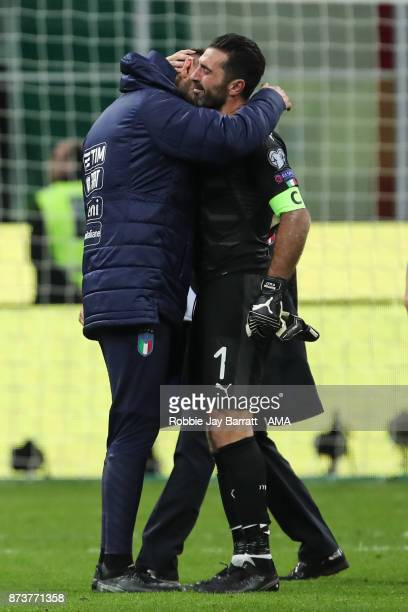 An emotional Gianluigi Buffon of Italy and Gianluigi Donnarumma of Italy at full time during the FIFA 2018 World Cup Qualifier PlayOff Second Leg...