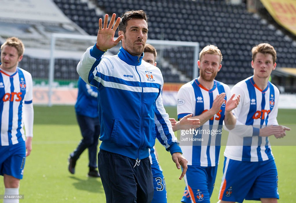 An emotional Manuel Pascali waves goodbye for last time to Kilmarnock fans after the Scottish premiership match between Kilmarnock and Ross County at Rugby Park on May 23, 2015 in Kilmarnock, Scotland.