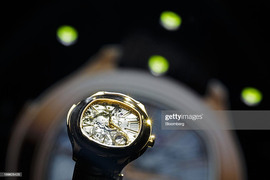 An Emperador Coussin automatic 48mm repeater watch sits on display at the Piaget, a unit of Cie. Financiere Richemont SA, booth during the first day of the Salon International de la Haute Horlogerie (SIHH) watch fair in Geneva, Switzerland, on Monday, Jan. 21, 2013. The Swiss watch industry slowed in the second half of 2012 as sales of timepieces and jewelry in Hong Kong, the biggest market for Swiss watchmakers, declined in August and October. Photographer: Valentin Flauraud/Bloomberg via Getty Images