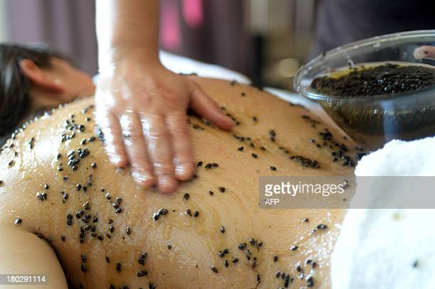 An employee applies a treatment made with raisin seeds over the back of a person receiving a spa treatment at the 'Caudalie Sources' hotel in...