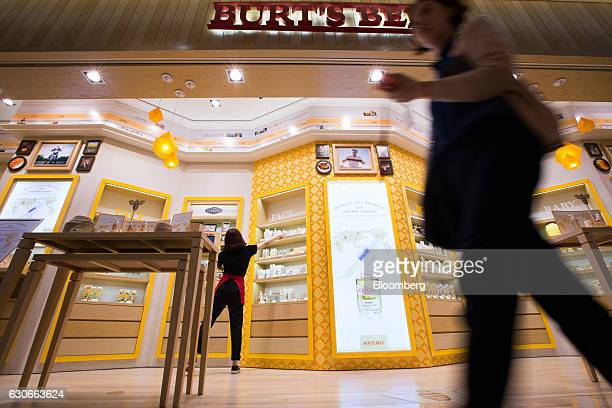 An employee arranges products inside a Burt's Bees Inc store a subsidiary of Clorax Co in Seoul South Korea on Thursday July 2 2015 At a time when...