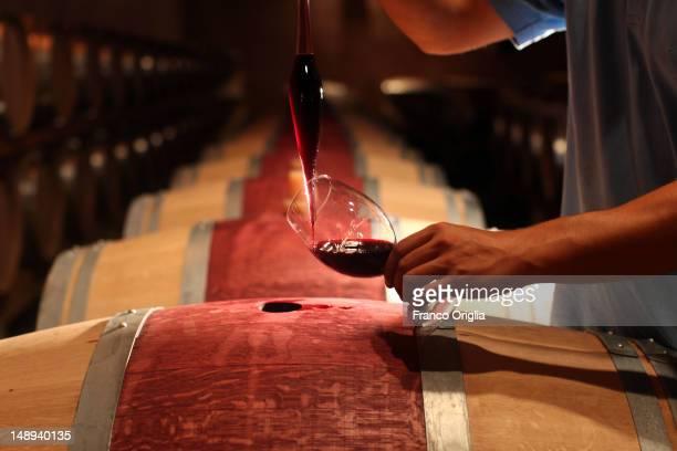 An employee checks the Chianti Rufina Riserva wine at The Marchesi de Frescobaldi Nipozzano wine cellar on September 23 2011 in Nipozzano Florence...