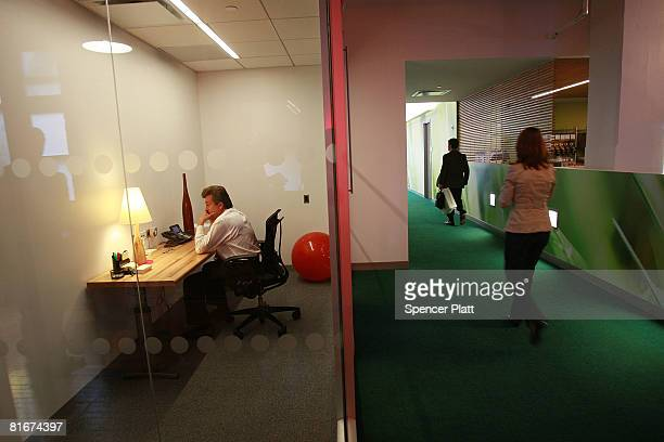 An employee for Google works at the internet company's new office space inside historic Chelsea Market June 23 2008 in New York City The new space...