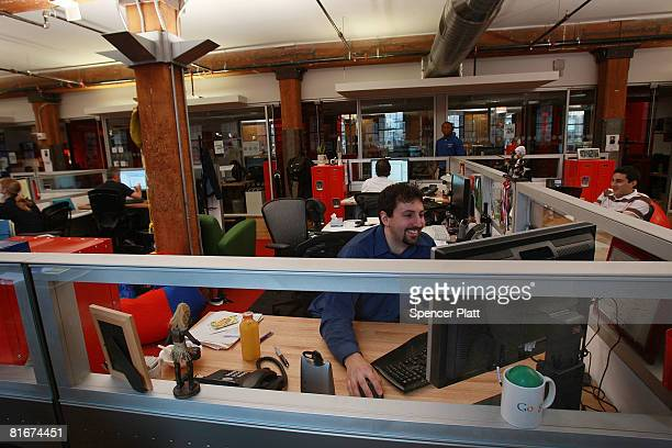 An employee for Google works at the internet company's new office space inside the historic Chelsea Market June 23 2008 in New York City The new...