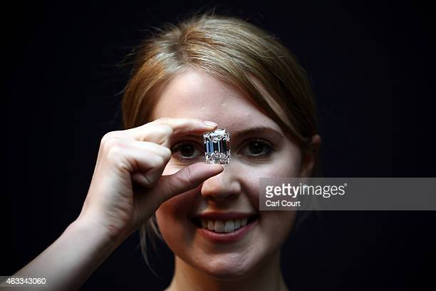 An employee holds a 100Carat perfect diamond at Sotheby's auction house on February 13 2015 in London England Forming part of the Magnificent Jewels...