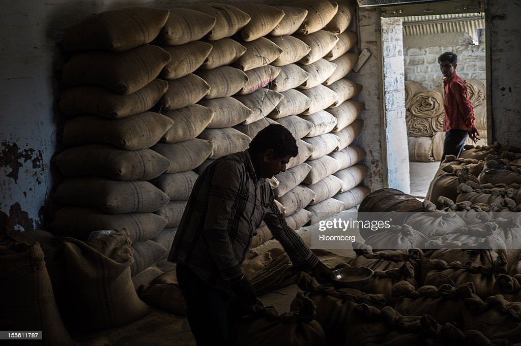 An employee inspects stock of guar gum split stored in the warehouse of a processing plant on the outskirts of Mathania, in the district of Jodhpur in Rajasthan, India, on Monday, Oct. 29, 2012. Guar gum is used to blend materials used in fracking. Photographer: Sanjit Das/Bloomberg via Getty Images