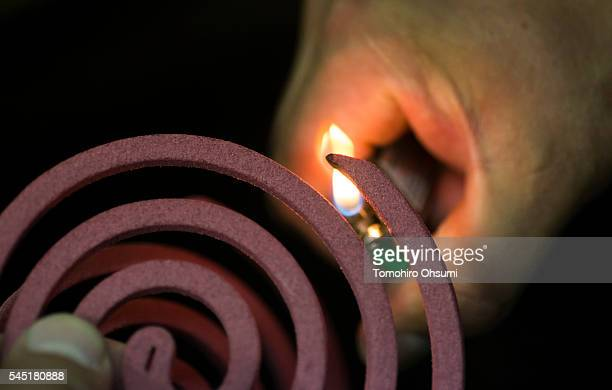 An employee lights a mosquito coil as he inspects it in a laboratory at the Kishu Factory of Dainihon Jochugiku Co Ltd on July 6 2016 in Arita Japan...