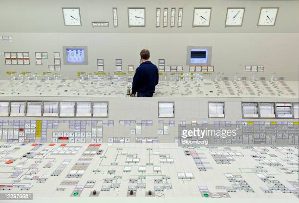 An employee monitors data on computer screens in the control room at RWE AG's Emsland nuclear power plant in Lingen Germany on Tuesday Sept 6 2011...