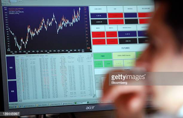 An employee monitors financial data on his computer screens inside the Banca d'Italia Italy's central bank in Rome Italy on Tuesday Feb 21 2012 Bank...