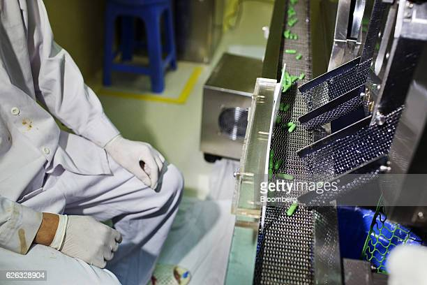 An employee monitors Traphaco JSC capsules moving along a conveyor at the company's manufacturing facility in Van Lam district Hung Yen Province...