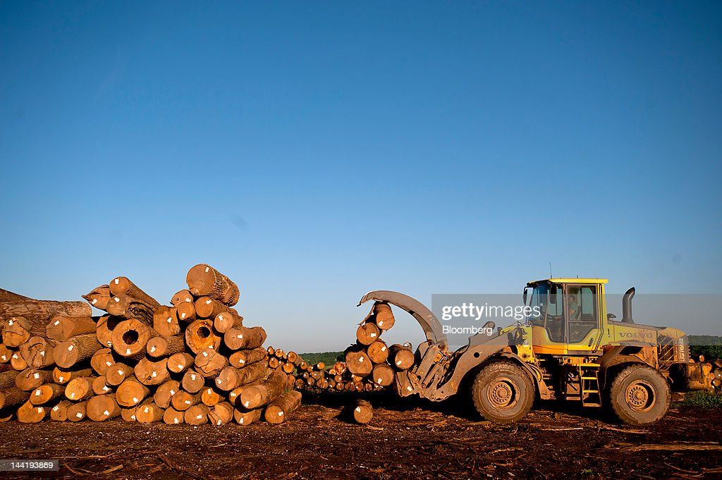 An employee moves logs from the yard to load onto the bet of the sawmill at Superior Hardwoods of Ohio Inc in Barlow Ohio US on Thursday May 10 2012...