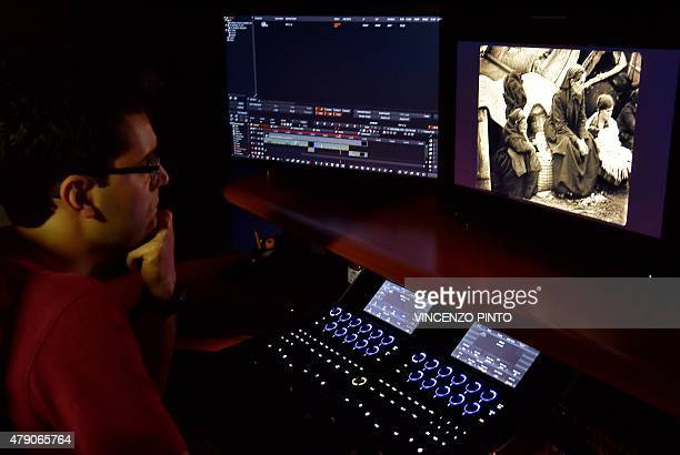 An employee of film restoration laboratory Cineteca di Bologna works on the restoration of a film about the Armenian genocide entitled 'Armenia...