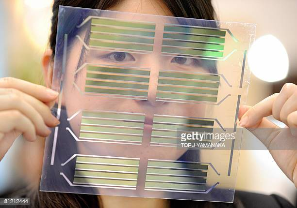 An employee of Japan's Advanced Industrial Science and Technology introduces a prototype 'green color' organic solar cell with flexible modules at...