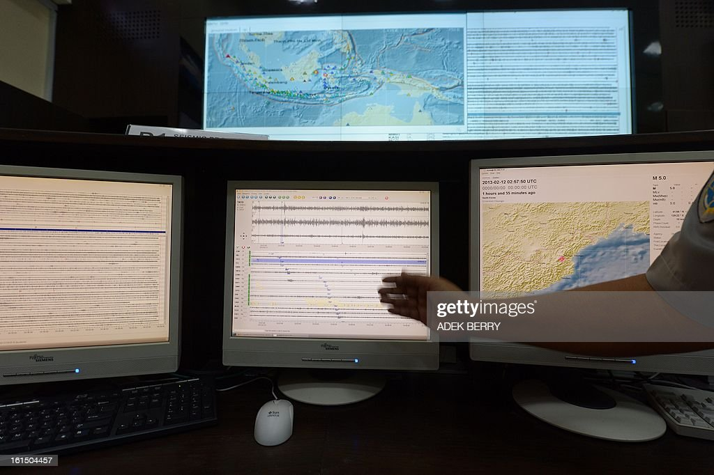 An employee of the Indonesian Meteorology, Geophysics and Climatology Agency (BMKG) operates screens that show seismic activity after a North Korean nuclear test (at 2:57:50 UTC), in Jakarta on February 12, 2013. North Korea confirmed it had 'successfully' carried out an underground nuclear test, drawing immediate condemnation from rival South Korea.
