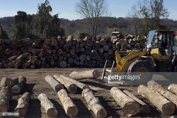 An employee operates a Komatsu Ltd WA250 wheel loader to move logs at the Cyblair Sawmill in West Columbia West Virginia US on Friday Nov 17 2017...