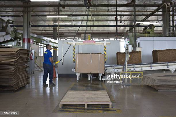 An employee operates a machine to place pressed tobacco cubes onto a conveyor belt at the Philip Morris International Coltabaco SAS production...