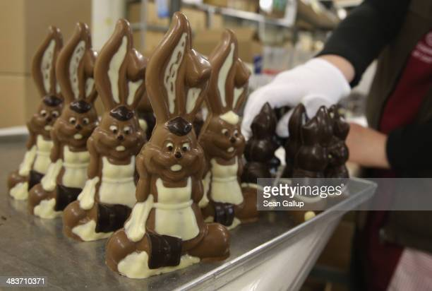 An employee packs chocolate Easter bunnies at the production facility at Confiserie Felicitas chocolates maker on April 9 2014 in Hornow Germany...