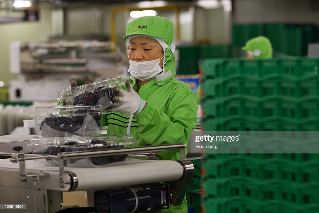 An employee packs grapes at the E-Mart Co. Fresh Center, a sorting facility, in Icheon, South Korea, on Wednesday, Nov. 21, 2012. South Korea's household debt rose to a record in the third quarter as borrowing increased to finance homes and consumption. Photographer: SeongJoon Cho/Bloomberg via Getty Images