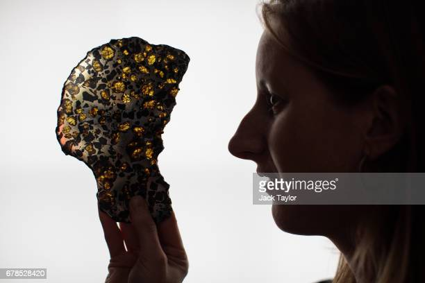 An employee poses with a Pallasite Meteorite slice from Imilac Chile at 5 Cromwell Place on May 4 2017 in London England British art dealer Oliver...