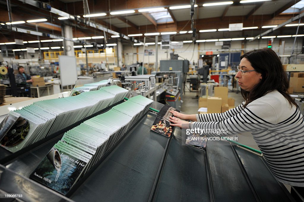 An employee prepares DVD before shipment at the MPO International company plant in Villaines-la-Juhel, western France, on January 7, 2013.