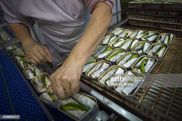 An employee prepares sardines to be canned with a traditional precooked method at La Gondola canning plant in the Portuguese town of Matosinhos near...