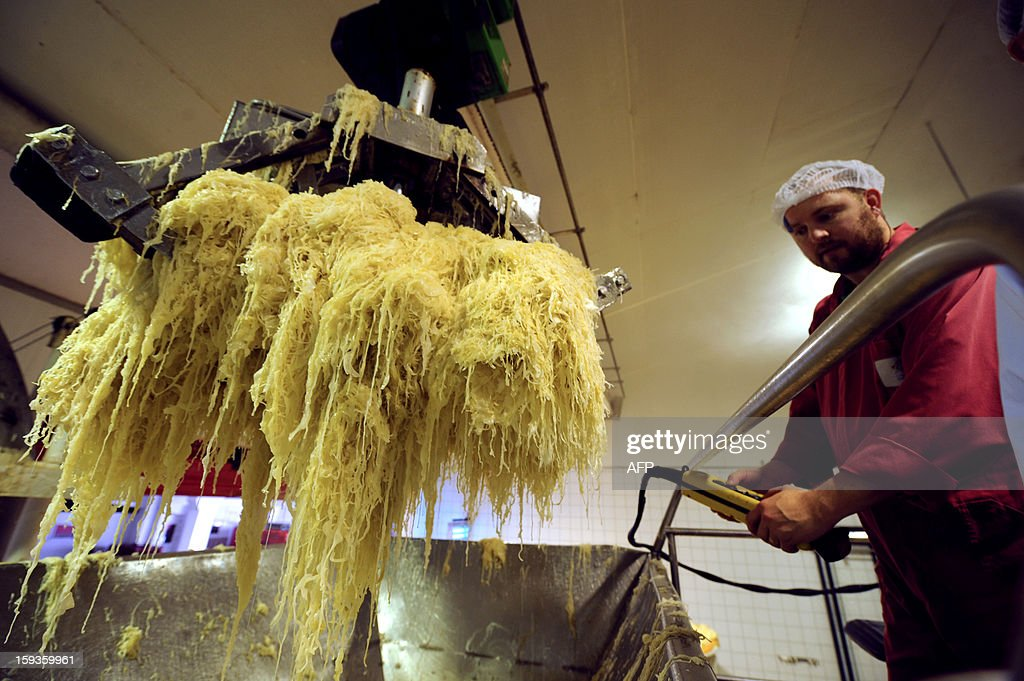 An employee puts fermented cabbage in a tank as he works on the processing line of a sauerkraut unit of Charles Christ, a French firm specialized in canned cooked dishes and condiments, on January 11, 2013 at Connerre, western France.
