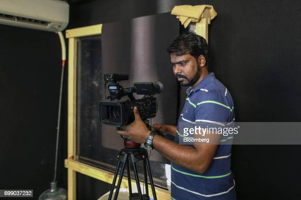 An employee records a video for the BYJU'S learning app at the Think and Learn Pvt office in Bengaluru India on Wednesday April 5 2017 Online...