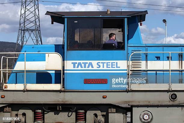 An employee sits in a railway train cabin at the steel works operated by Tata Steel Ltd in Port Talbot UK on Thursday March 31 2016 Tata Steel part...