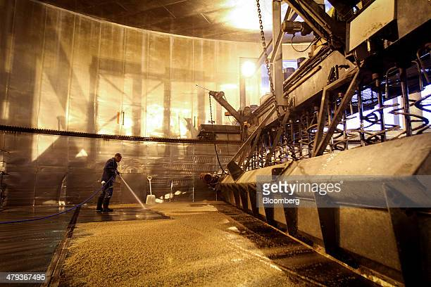 An employee sprays water onto barley during the malting process at the SABMiller Plc Maltings plant in Caledon South Africa on Thursday March 13 2014...