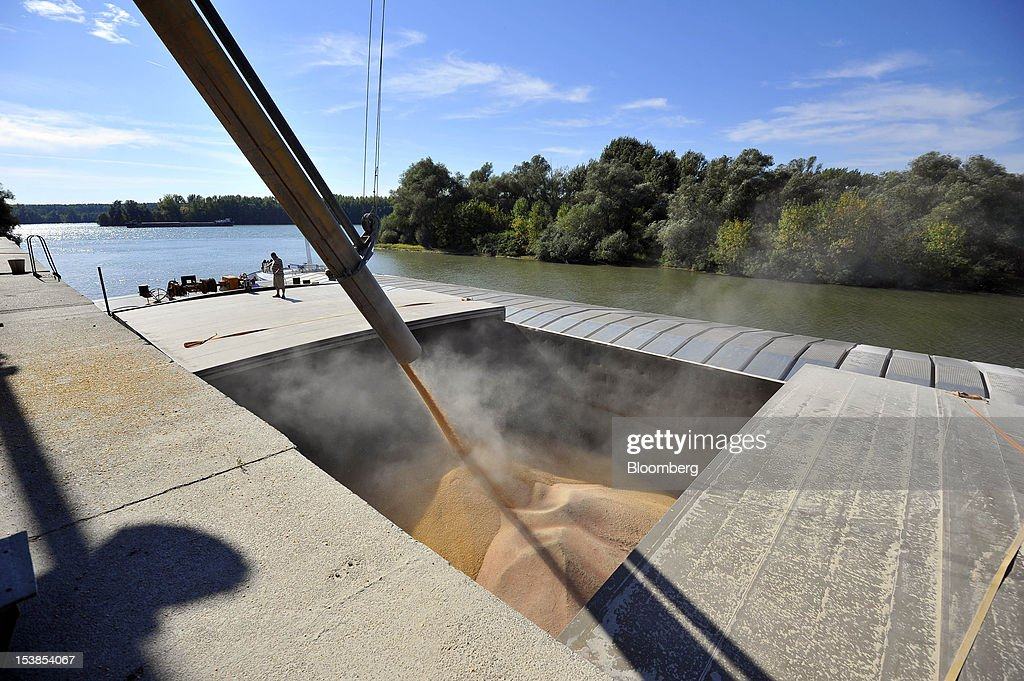 An employee stands by during the loading of corn grain into the hold of the Dutch cargo ship Amice II at Granexport AD port, part of MK Group, on the Danube river in Pancevo, Serbia, on Tuesday, Oct. 9, 2012. Goods volumes on Europe's longest river after the Volga are 80 percent lower than on the Rhine, the region's busiest waterway, according to EU figures. Photographer: Oliver Bunic/Bloomberg via Getty Images