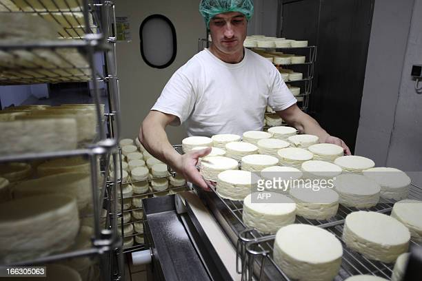 An employee stores Camembert cheeses to ripen after the demoulding at Francois Durand's cheese farm 'La Heronniere' on April 11 2013 in the French...
