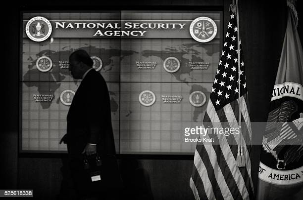 An employee walks inside the National Security Agency headquarters in Fort Meade Maryland outside Washington DC The NSA is the central producer and...