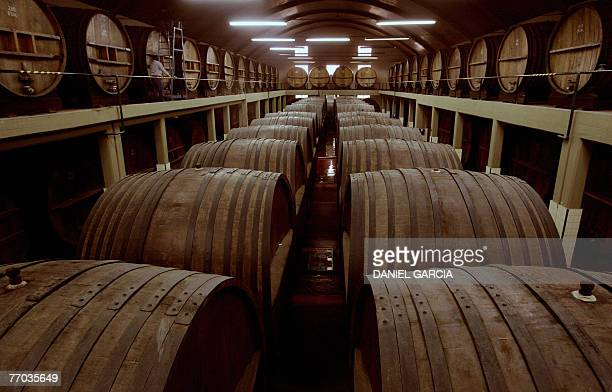 An employee walks on the top level passing by french oak casks aging red wine at the second storehouse of Bodegas Lopez winery Bodegas Lopez winery...