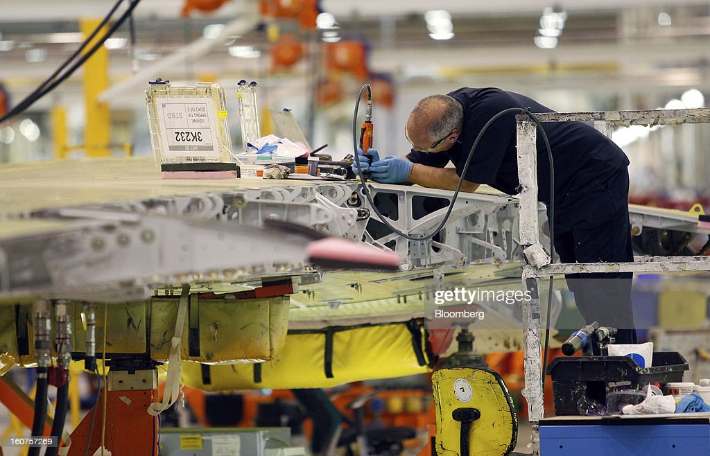 An employee works on an Airbus A320 single-aisle passenger aircraft wing during production at the company's factory in Broughton, U.K., on Monday, Feb. 4, 2013. Airbus SAS won a $9 billion order from Steven Udvar-Hazy's Air Lease Corp. that includes 25 A350 wide-body jets, a competitor to Boeing Co.'s grounded 787 Dreamliner. Photographer: Paul Thomas/Bloomberg via Getty Images
