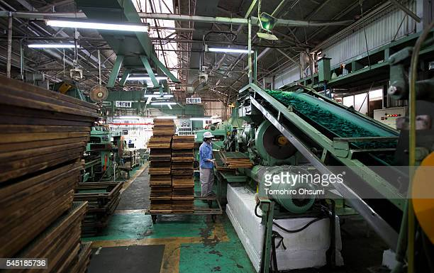 An employee works on the production line of mosquito coils at the Kishu Factory of Danihon Jochugiku Co Ltd on July 6 2016 in Arita Japan Japanese...